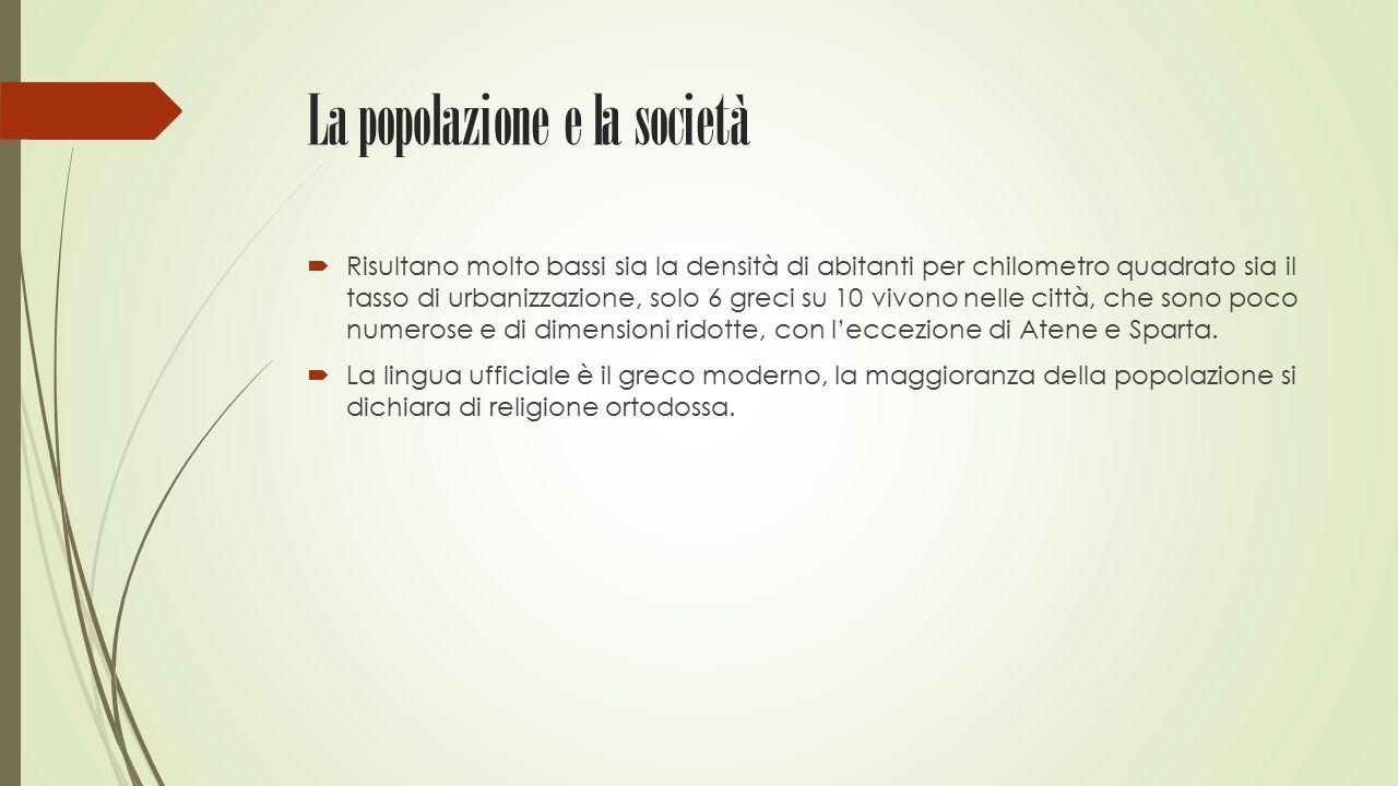 La popolazione e la società  Risultano molto bassi sia la densità di abitanti per chilometro quadrato sia il tasso di urbanizzazione, solo 6 greci su