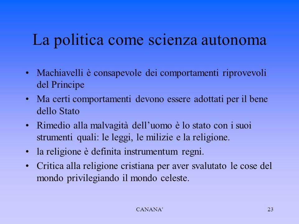 Quale pensiero politico è presente Realtà è fusione col pensiero politico CANANA 22 Realtà è la crisi politica, morale e militare dell'Italia Il Principe è la soluzione urgente per recuperare e organizzare le ultime energie d'Itala