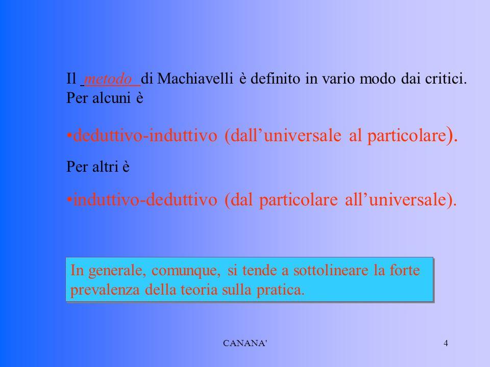Il metodo di Machiavelli è definito in vario modo dai critici.