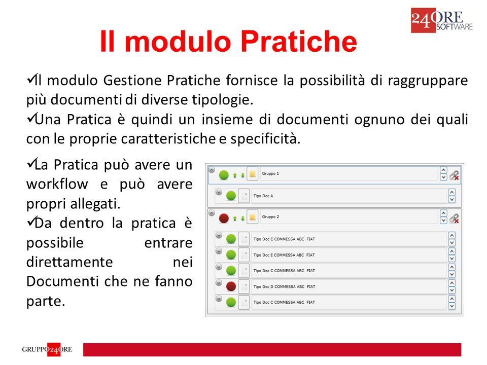 Il modulo Gestione Pratiche fornisce la possibilità di raggruppare più documenti di diverse tipologie.