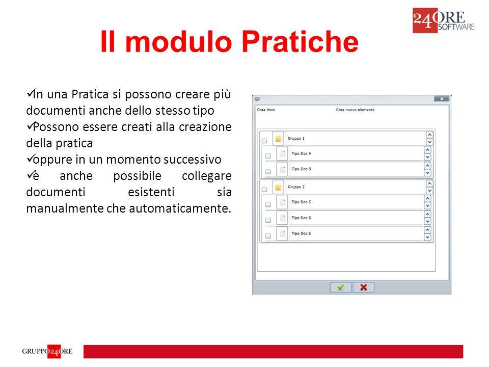 Il modulo Pratiche Tramite il workflow è possibile creare degli automatismi o delle regole che colleghino automaticamente documenti a pratiche.