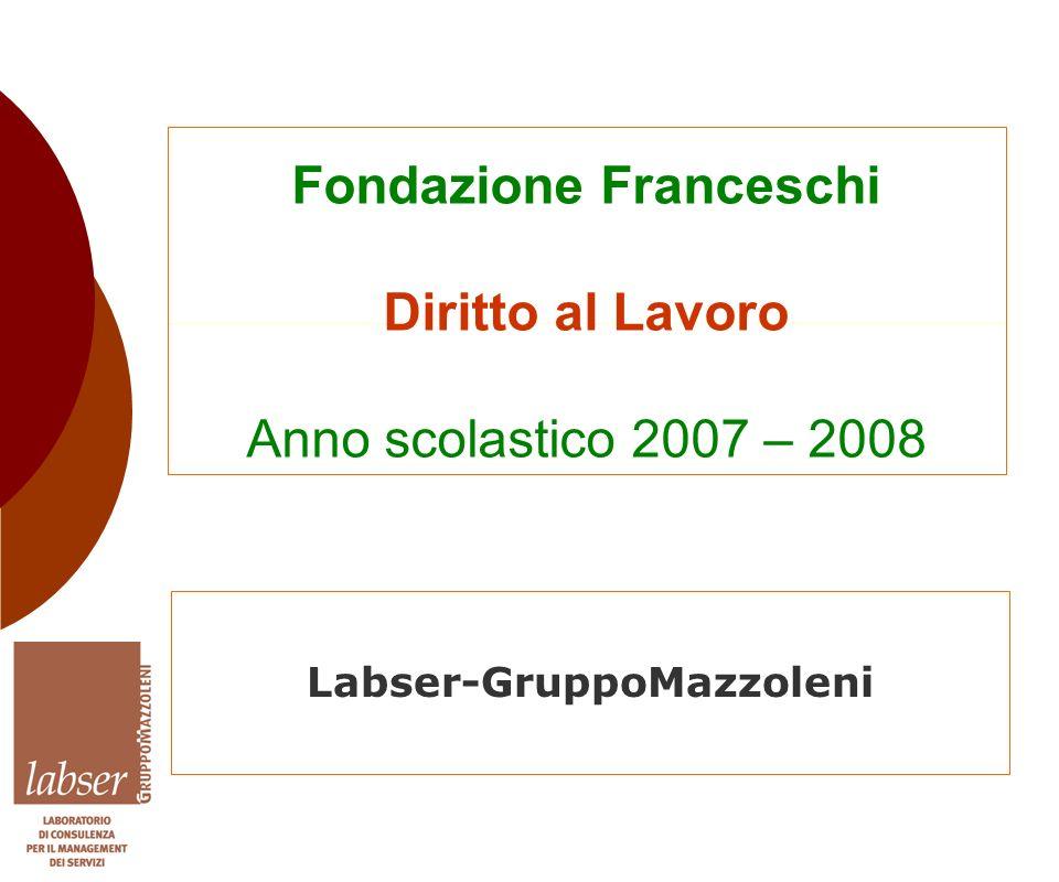 Fondazione Franceschi Diritto al Lavoro Anno scolastico 2007 – 2008 Labser-GruppoMazzoleni