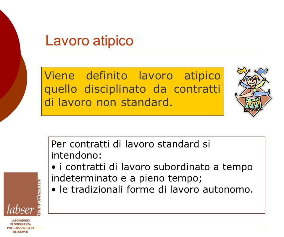 28-09-200512 Lavoro atipico Viene definito lavoro atipico quello disciplinato da contratti di lavoro non standard.