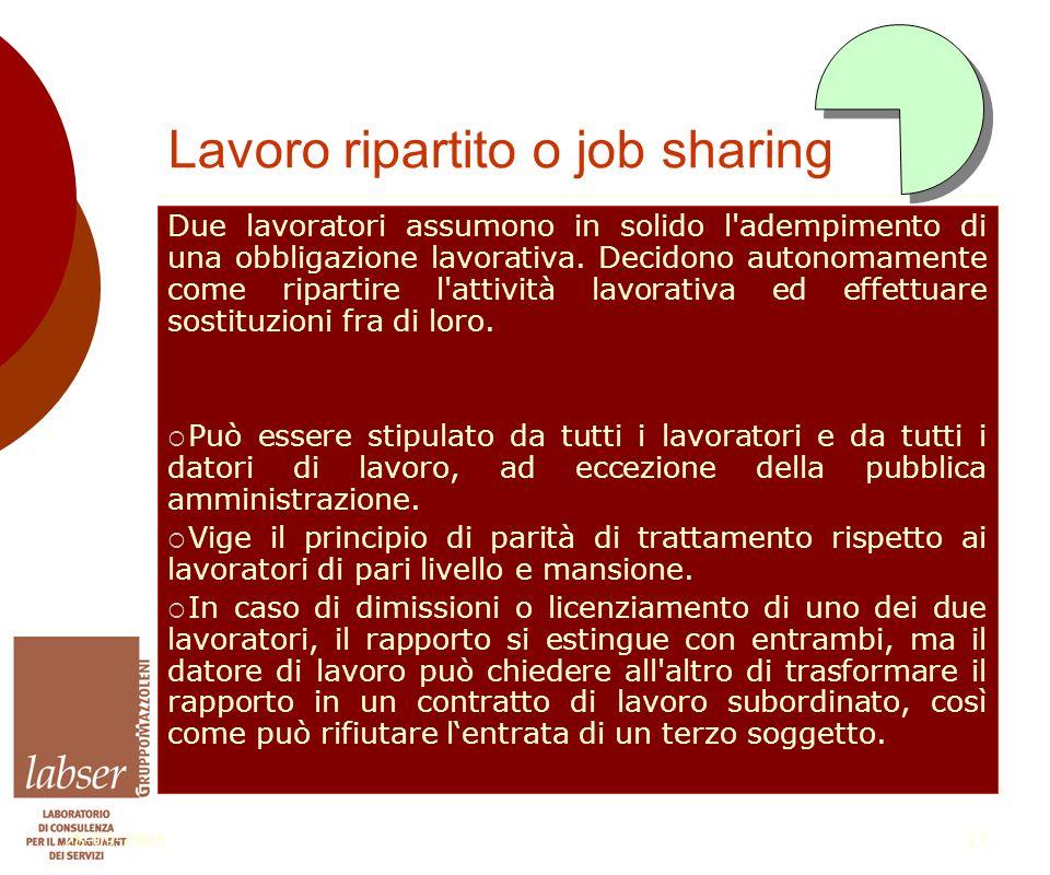 28-09-200517 Lavoro ripartito o job sharing Due lavoratori assumono in solido l adempimento di una obbligazione lavorativa.