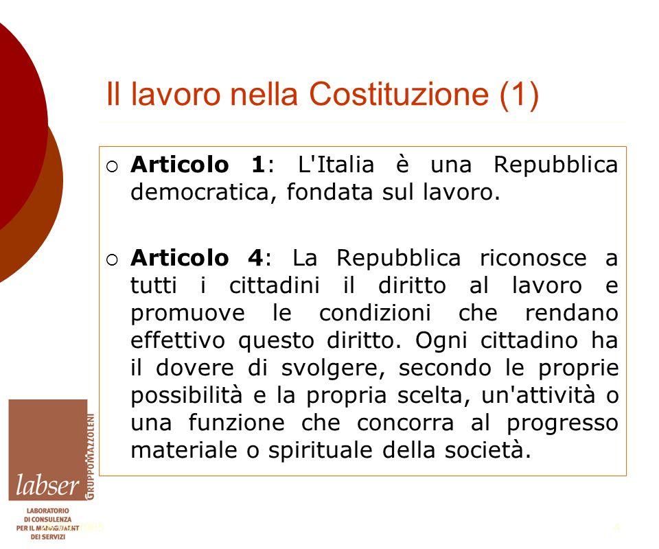 28-09-20054 Il lavoro nella Costituzione (1)  Articolo 1: L Italia è una Repubblica democratica, fondata sul lavoro.