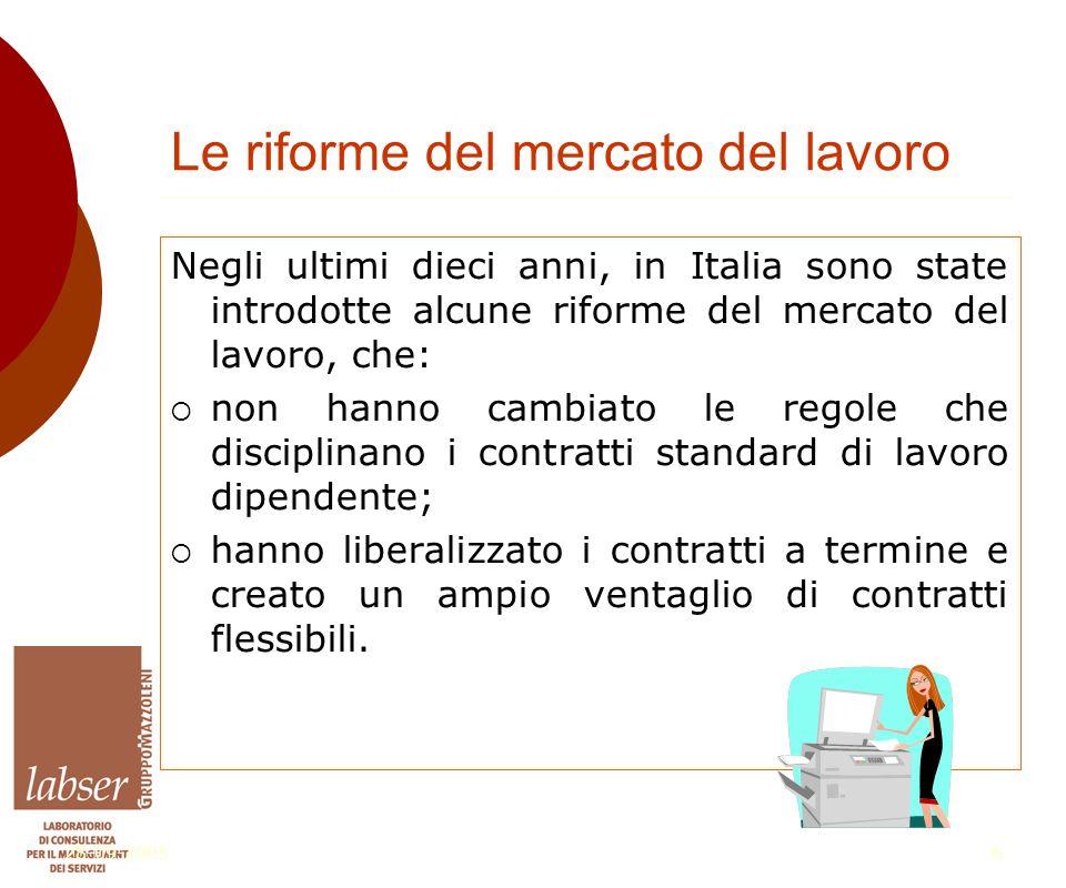 28-09-20056 Le riforme del mercato del lavoro Negli ultimi dieci anni, in Italia sono state introdotte alcune riforme del mercato del lavoro, che:  non hanno cambiato le regole che disciplinano i contratti standard di lavoro dipendente;  hanno liberalizzato i contratti a termine e creato un ampio ventaglio di contratti flessibili.
