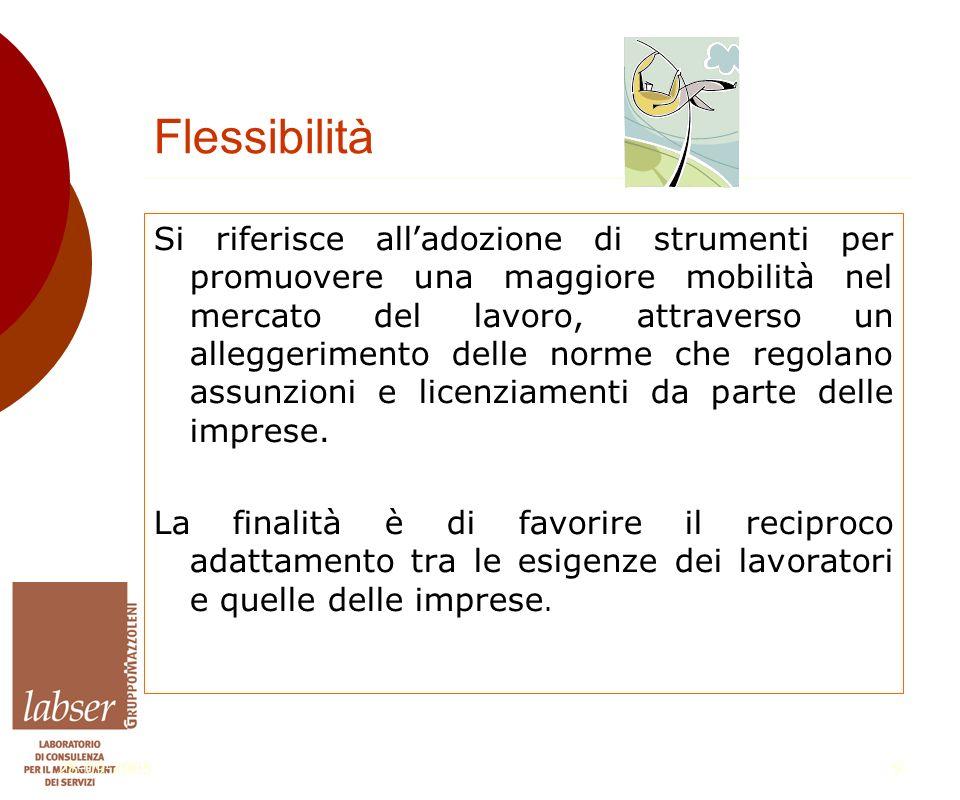 28-09-20059 Flessibilità Si riferisce all'adozione di strumenti per promuovere una maggiore mobilità nel mercato del lavoro, attraverso un alleggerimento delle norme che regolano assunzioni e licenziamenti da parte delle imprese.