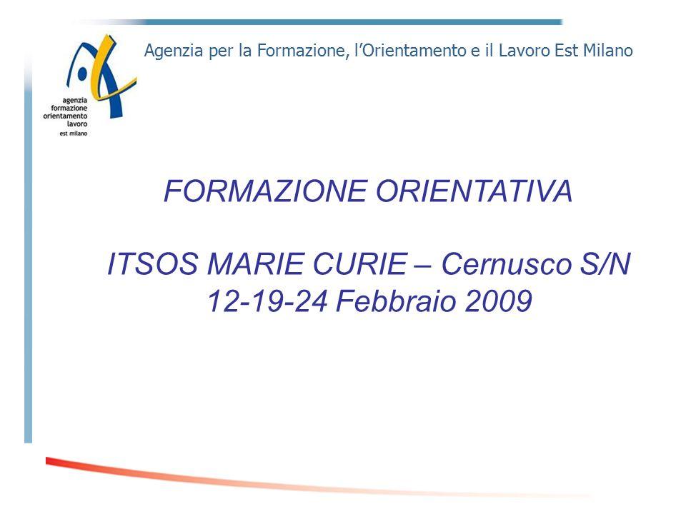 Agenzia per la Formazione, l'Orientamento e il Lavoro Est Milano FORMAZIONE ORIENTATIVA ITSOS MARIE CURIE – Cernusco S/N 12-19-24 Febbraio 2009