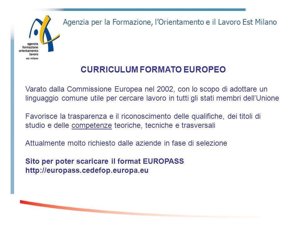 Agenzia per la Formazione, l'Orientamento e il Lavoro Est Milano CURRICULUM FORMATO EUROPEO Varato dalla Commissione Europea nel 2002, con lo scopo di
