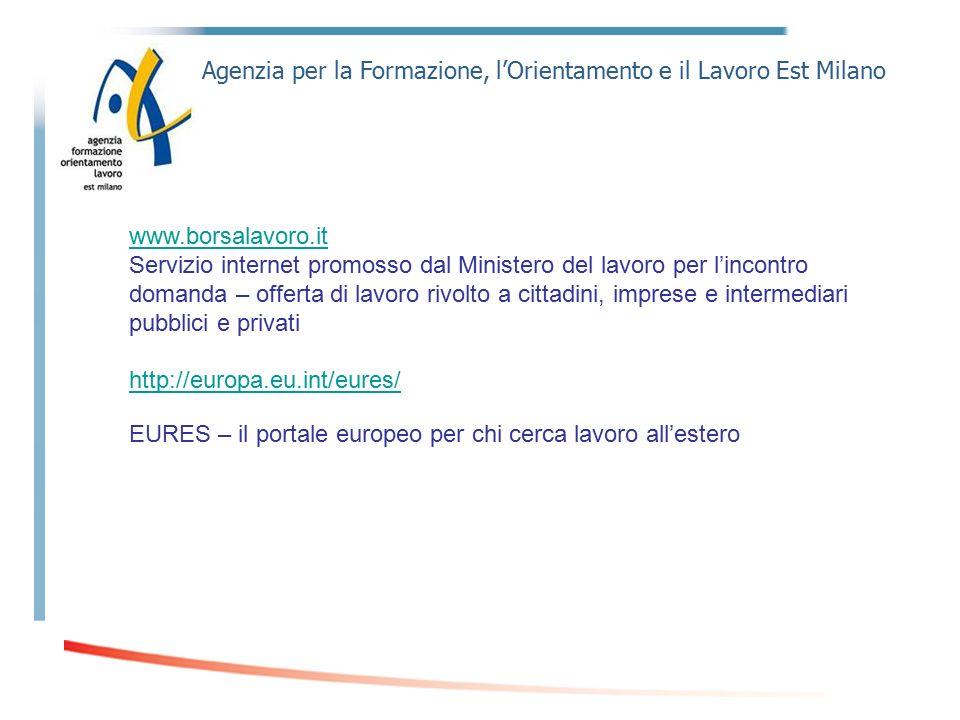 Agenzia per la Formazione, l'Orientamento e il Lavoro Est Milano www.borsalavoro.it Servizio internet promosso dal Ministero del lavoro per l'incontro