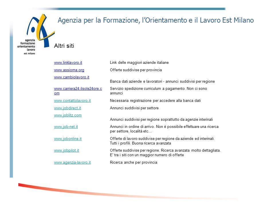 Agenzia per la Formazione, l'Orientamento e il Lavoro Est Milano Altri siti www.linklavoro.itLink delle maggiori aziende italiane www.assioma.orgOffer