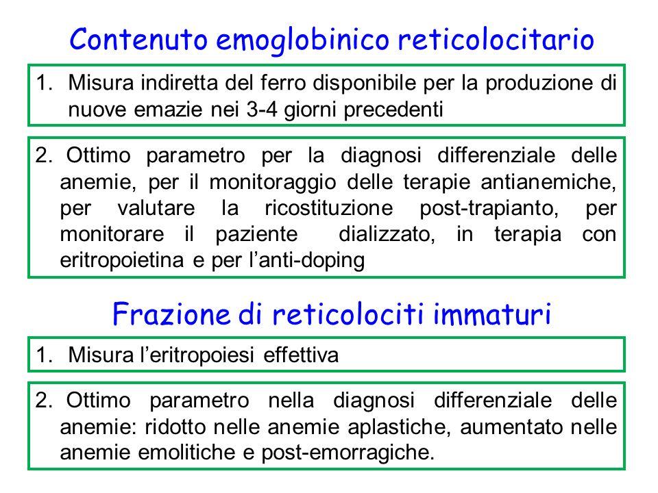 Contenuto emoglobinico reticolocitario 1.Misura indiretta del ferro disponibile per la produzione di nuove emazie nei 3-4 giorni precedenti 2.