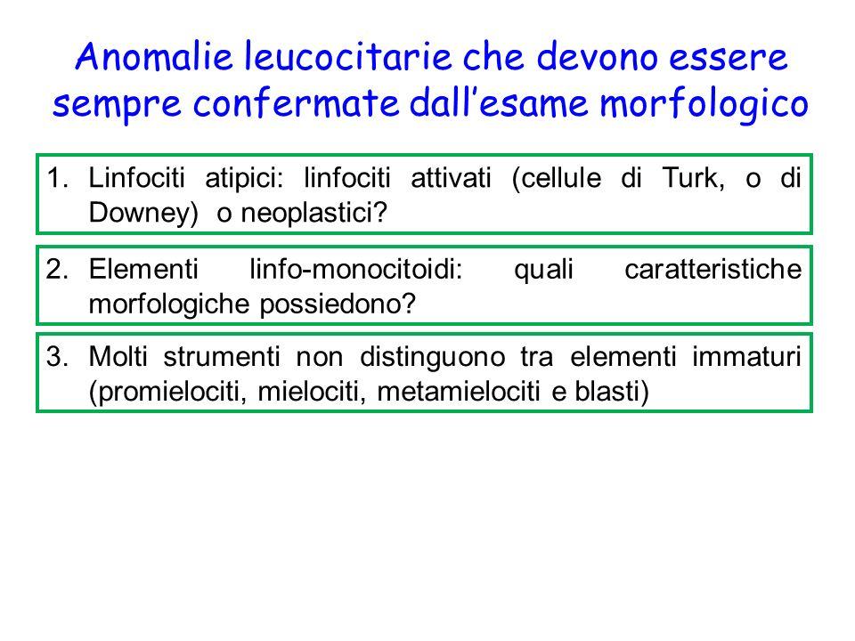 Anomalie leucocitarie che devono essere sempre confermate dall'esame morfologico 1.Linfociti atipici: linfociti attivati (cellule di Turk, o di Downey) o neoplastici.