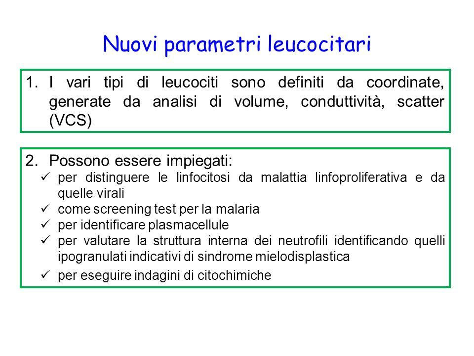 Nuovi parametri leucocitari 1.I vari tipi di leucociti sono definiti da coordinate, generate da analisi di volume, conduttività, scatter (VCS) 2.Possono essere impiegati: per distinguere le linfocitosi da malattia linfoproliferativa e da quelle virali come screening test per la malaria per identificare plasmacellule per valutare la struttura interna dei neutrofili identificando quelli ipogranulati indicativi di sindrome mielodisplastica per eseguire indagini di citochimiche