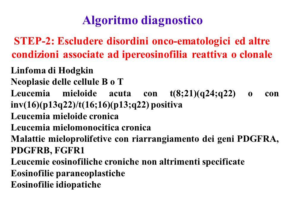 Algoritmo diagnostico STEP-1: Escludere la natura reattiva dell'ipereosinofilia Reazioni allergiche: da farmaci, asma ecc (RAST Test) Infezioni parassitarie: Strongyloides stercoralis, Toxocara, Filaria, Schistosoma (Ricerca parassiti e sierologie) Insufficienza surrenalica: livelli di cortisolo, Immunodeficienze umorali: aumento di IgE, aumento di IgM, Sindrome di Wiskott-Aldrich, deficit di IgA Eosinofilie polmonari: granuloma eosinofilo, aspergillosi polmonare, polmoniti eosinofile idiopatiche (livelli di ANCA) Dermatiti bollose autoimmuni: dermatiti erpetiformi, pemfigo bolloso (Visita dermatologica) STEP-2: Escludere disordini onco-ematologici ed altre condizioni associate ad ipereosinofilia reattiva o clonale Linfoma di Hodgkin Neoplasie delle cellule B o T Leucemia mieloide acuta con t(8;21)(q24;q22) o con inv(16)(p13q22)/t(16;16)(p13;q22) positiva Leucemia mieloide cronica Leucemia mielomonocitica cronica Malattie mieloprolifetive con riarrangiamento dei geni PDGFRA, PDGFRB, FGFR1 Leucemie eosinofiliche croniche non altrimenti specificate Eosinofilie paraneoplastiche Eosinofilie idiopatiche