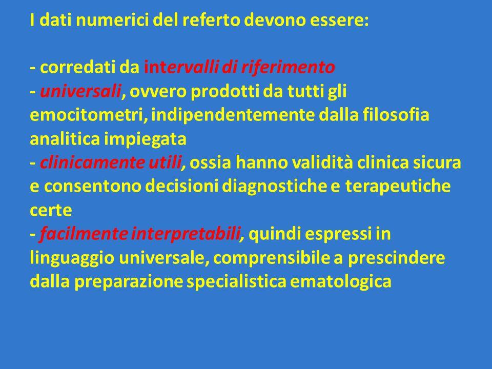 I dati numerici del referto devono essere: - corredati da intervalli di riferimento - universali, ovvero prodotti da tutti gli emocitometri, indipende