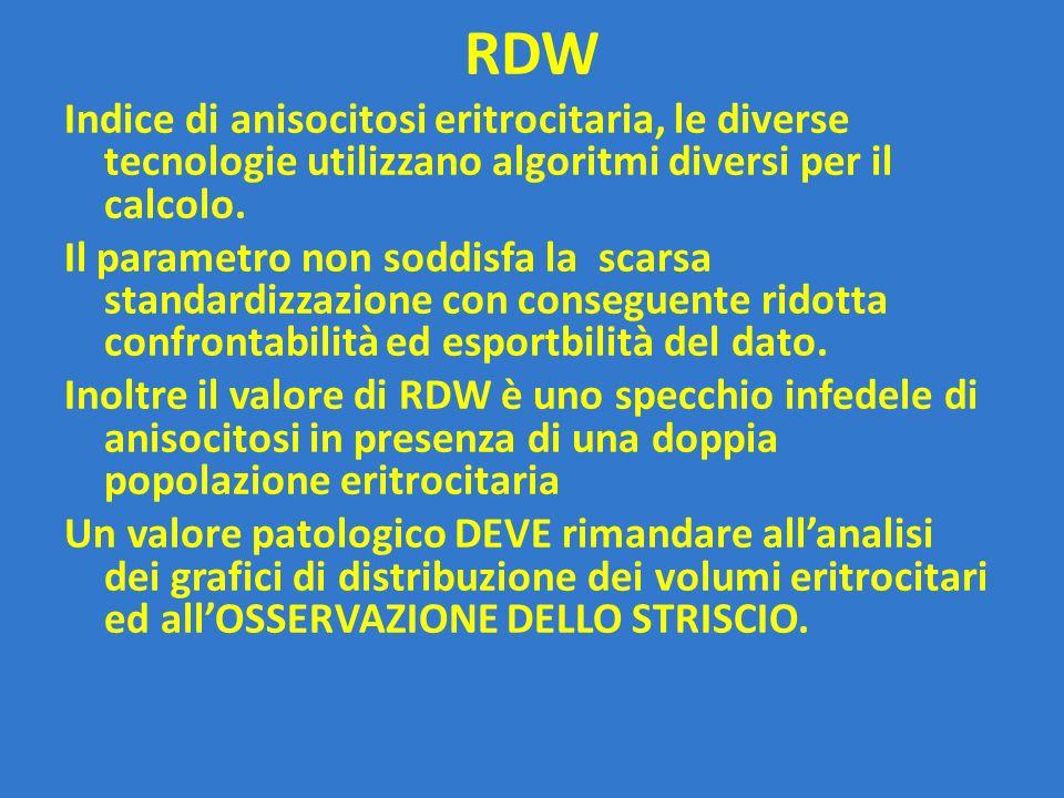 RDW Indice di anisocitosi eritrocitaria, le diverse tecnologie utilizzano algoritmi diversi per il calcolo. Il parametro non soddisfa la scarsa standa