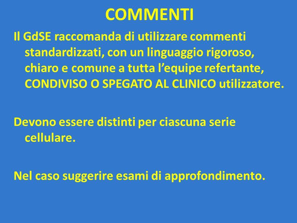 COMMENTI Il GdSE raccomanda di utilizzare commenti standardizzati, con un linguaggio rigoroso, chiaro e comune a tutta l'equipe refertante, CONDIVISO