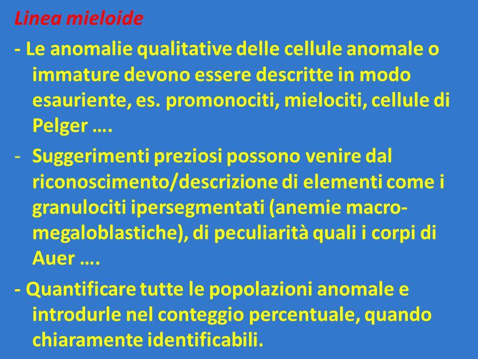Linea mieloide - Le anomalie qualitative delle cellule anomale o immature devono essere descritte in modo esauriente, es. promonociti, mielociti, cell