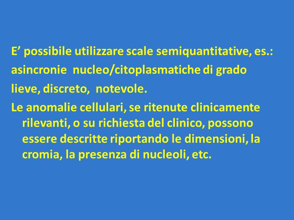 E' possibile utilizzare scale semiquantitative, es.: asincronie nucleo/citoplasmatiche di grado lieve, discreto, notevole. Le anomalie cellulari, se r