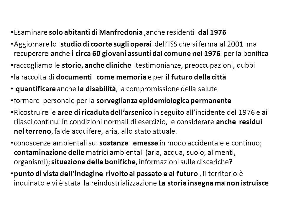 Esaminare solo abitanti di Manfredonia,anche residenti dal 1976 Aggiornare lo studio di coorte sugli operai dell'ISS che si ferma al 2001 ma recuperar