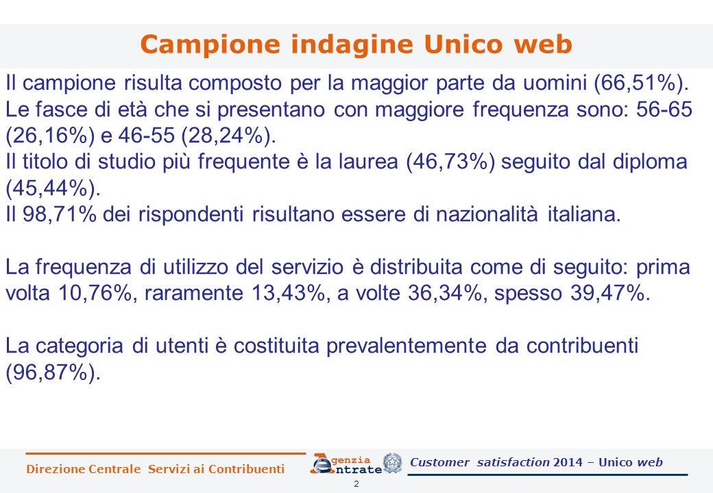 Direzione Centrale Servizi ai Contribuenti Campione indagine Unico web 2 Il campione risulta composto per la maggior parte da uomini (66,51%). Le fasc