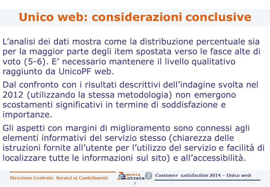 Unico web: considerazioni conclusive 7 L'analisi dei dati mostra come la distribuzione percentuale sia per la maggior parte degli item spostata verso le fasce alte di voto (5-6).