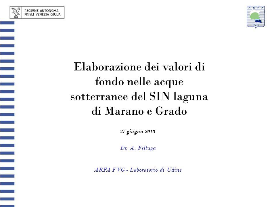 Elaborazione dei valori di fondo nelle acque sotterranee del SIN laguna di Marano e Grado Dr. A. Felluga ARPA FVG - Laboratorio di Udine 27 giugno 201