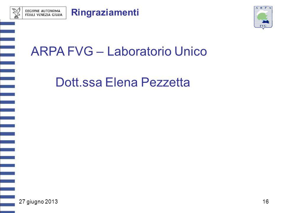 27 giugno 201316 Ringraziamenti ARPA FVG – Laboratorio Unico Dott.ssa Elena Pezzetta