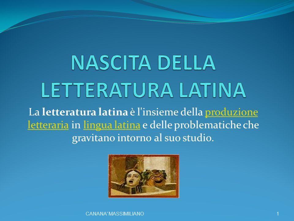 La letteratura latina è l insieme della produzione letteraria in lingua latina e delle problematiche che gravitano intorno al suo studio.produzione letterarialingua latina 1CANANA MASSIMILIANO
