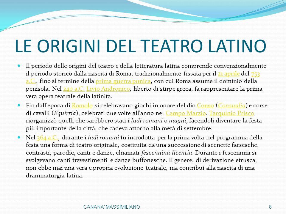 LE ORIGINI DEL TEATRO LATINO Il periodo delle origini del teatro e della letteratura latina comprende convenzionalmente il periodo storico dalla nascita di Roma, tradizionalmente fissata per il 21 aprile del 753 a.C., fino al termine della prima guerra punica, con cui Roma assume il dominio della penisola.