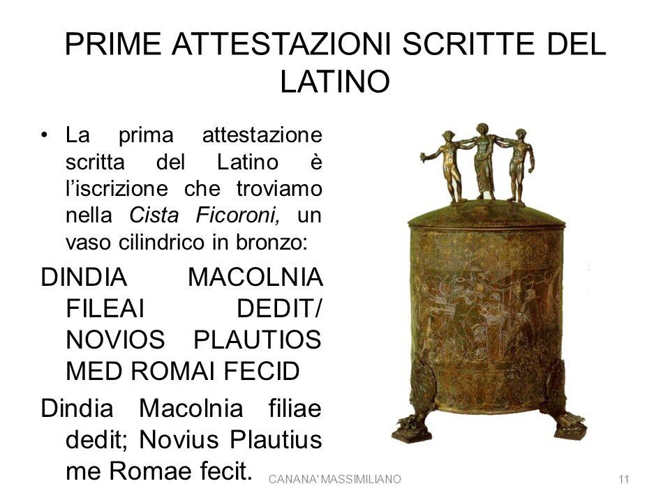 PRIME ATTESTAZIONI SCRITTE DEL LATINO La prima attestazione scritta del Latino è l'iscrizione che troviamo nella Cista Ficoroni, un vaso cilindrico in bronzo: DINDIA MACOLNIA FILEAI DEDIT/ NOVIOS PLAUTIOS MED ROMAI FECID Dindia Macolnia filiae dedit; Novius Plautius me Romae fecit.