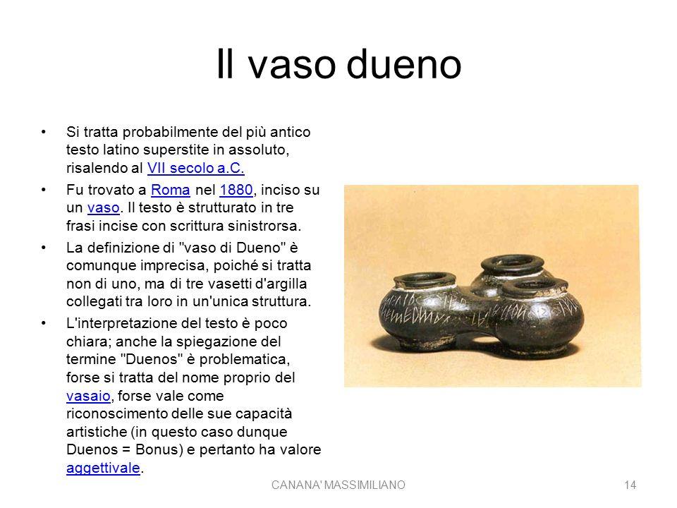 Il vaso dueno Si tratta probabilmente del più antico testo latino superstite in assoluto, risalendo al VII secolo a.C.VII secolo a.C. Fu trovato a Rom