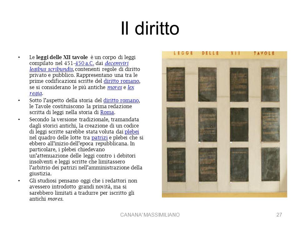 Il diritto Le leggi delle XII tavole è un corpo di leggi compilato nel 451-450 a.C. dai decemviri legibus scribundis, contenenti regole di diritto pri