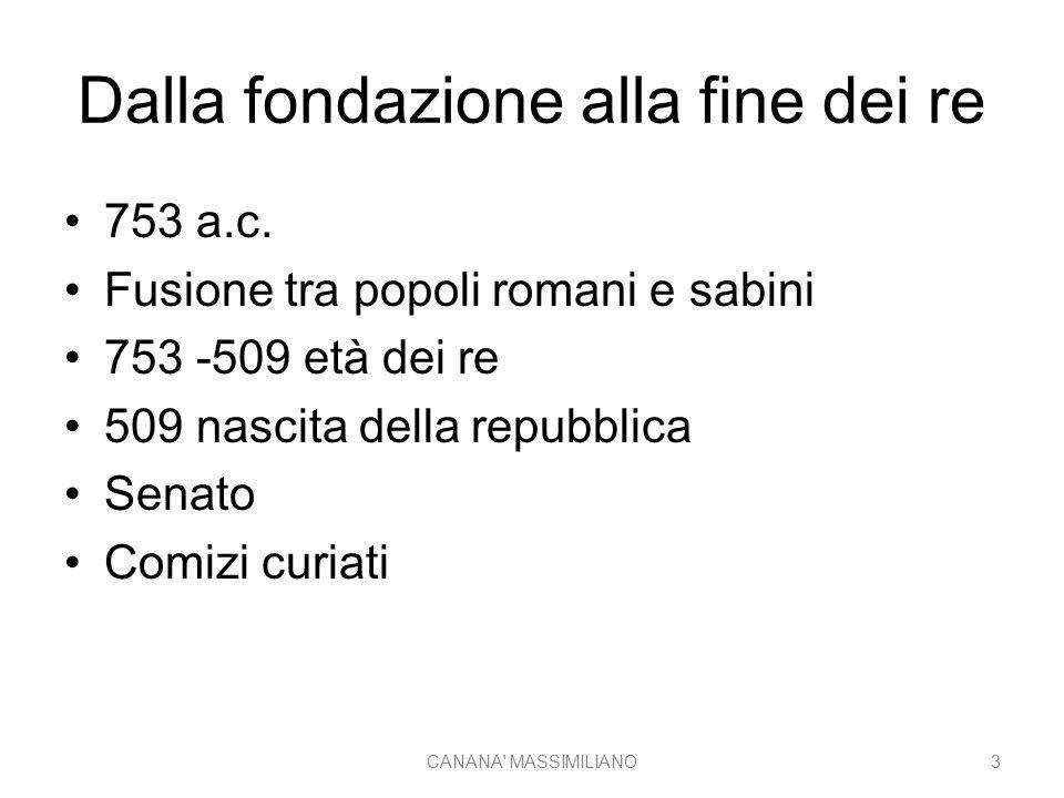 Dalla fondazione alla fine dei re 753 a.c. Fusione tra popoli romani e sabini 753 -509 età dei re 509 nascita della repubblica Senato Comizi curiati C