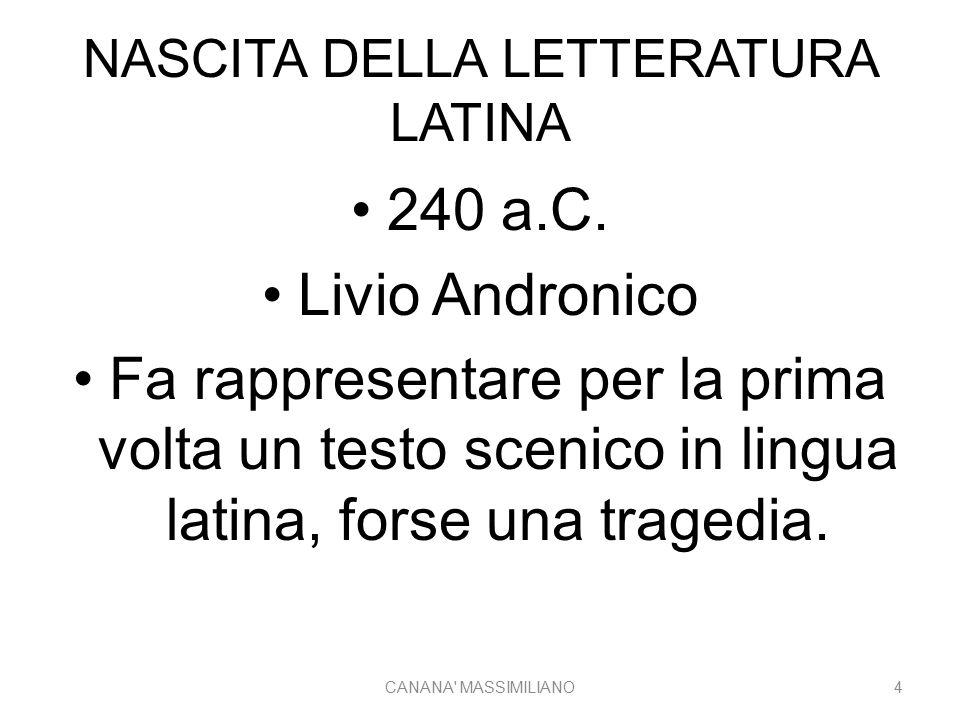 NASCITA DELLA LETTERATURA LATINA 240 a.C. Livio Andronico Fa rappresentare per la prima volta un testo scenico in lingua latina, forse una tragedia. C