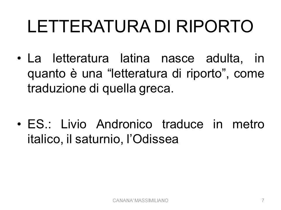 """LETTERATURA DI RIPORTO La letteratura latina nasce adulta, in quanto è una """"letteratura di riporto"""", come traduzione di quella greca. ES.: Livio Andro"""