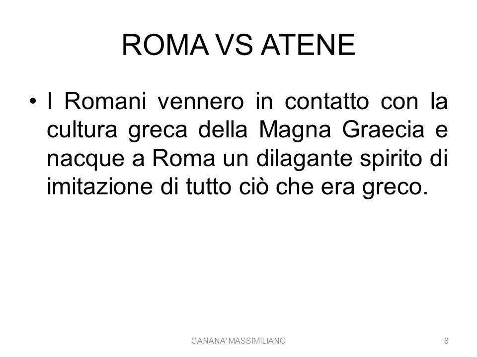 ROMA VS ATENE I Romani vennero in contatto con la cultura greca della Magna Graecia e nacque a Roma un dilagante spirito di imitazione di tutto ciò che era greco.