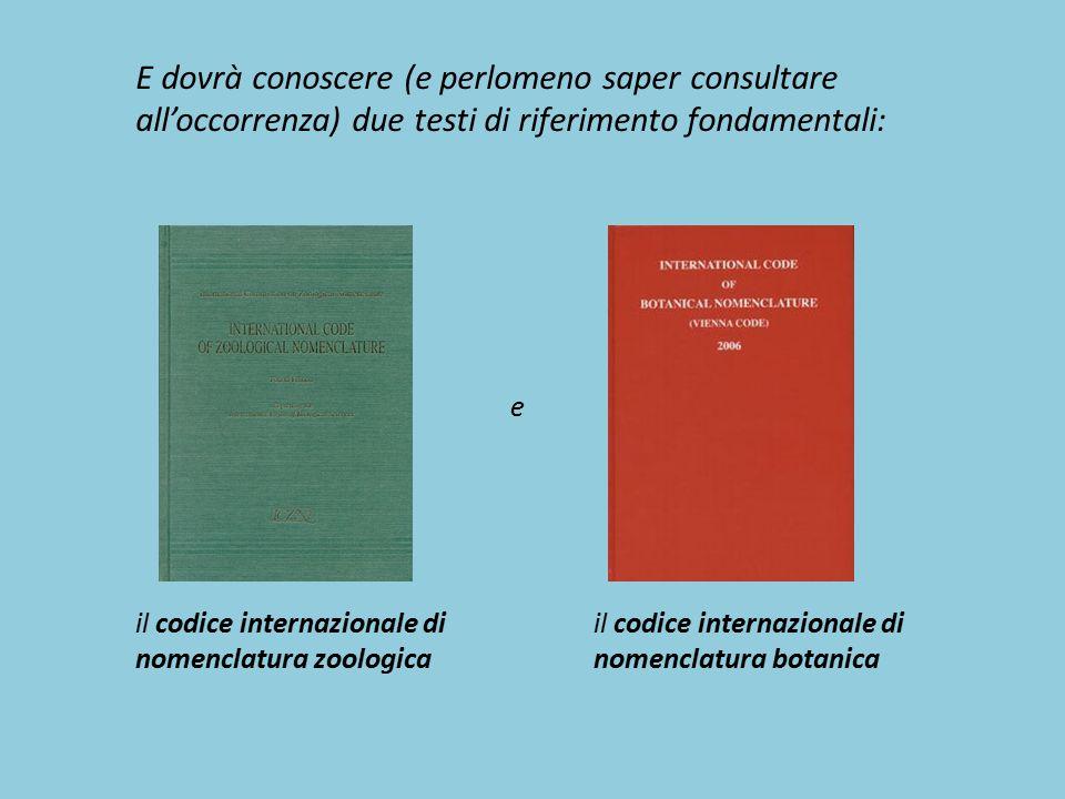 il codice internazionale di nomenclatura zoologica E dovrà conoscere (e perlomeno saper consultare all'occorrenza) due testi di riferimento fondamenta