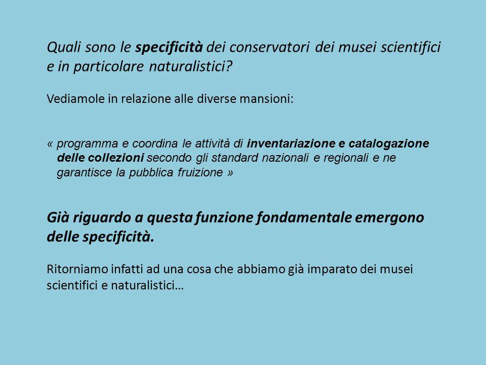 Quali sono le specificità dei conservatori dei musei scientifici e in particolare naturalistici? Vediamole in relazione alle diverse mansioni: « progr
