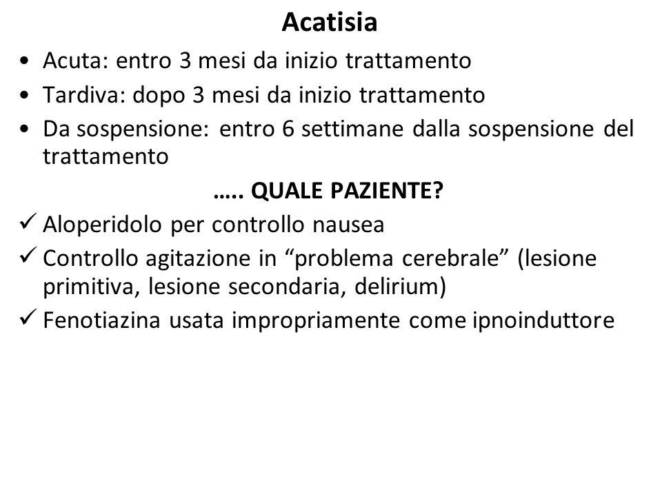 Acatisia Acuta: entro 3 mesi da inizio trattamento Tardiva: dopo 3 mesi da inizio trattamento Da sospensione: entro 6 settimane dalla sospensione del