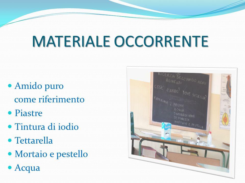 MATERIALE OCCORRENTE Amido puro come riferimento Piastre Tintura di iodio Tettarella Mortaio e pestello Acqua