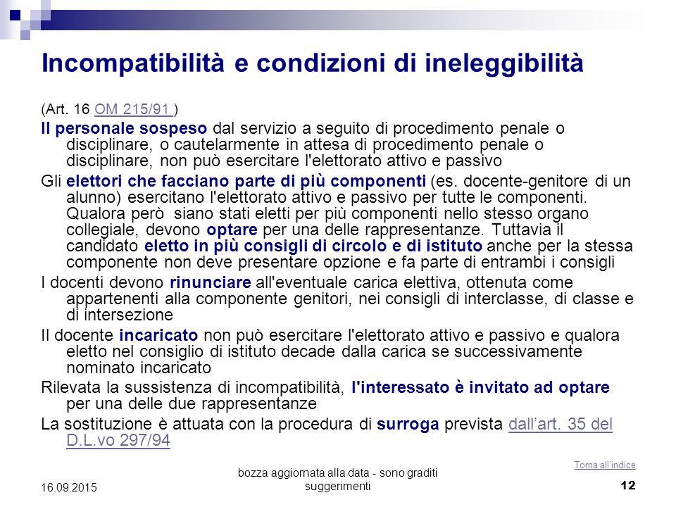 bozza aggiornata alla data - sono graditi suggerimenti 12 Incompatibilità e condizioni di ineleggibilità (Art. 16 OM 215/91 )OM 215/91 Il personale so