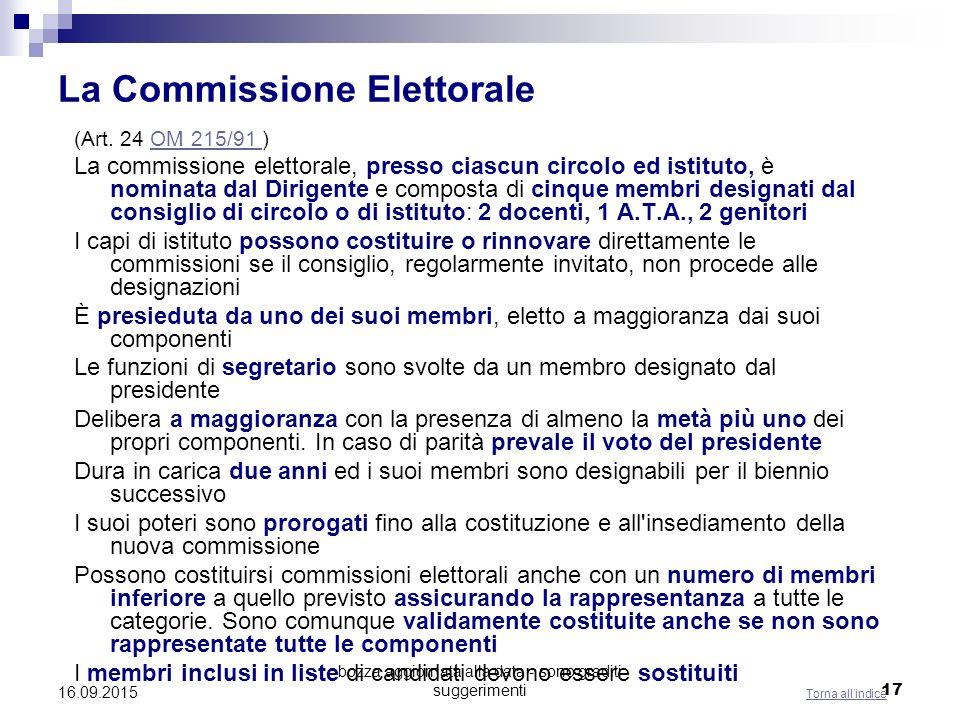 bozza aggiornata alla data - sono graditi suggerimenti 17 La Commissione Elettorale (Art. 24 OM 215/91 )OM 215/91 La commissione elettorale, presso ci