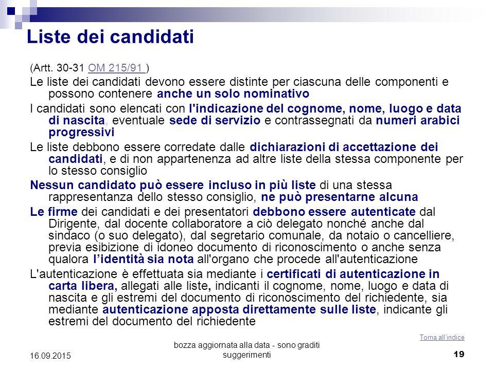 bozza aggiornata alla data - sono graditi suggerimenti 19 Liste dei candidati (Artt. 30-31 OM 215/91 )OM 215/91 Le liste dei candidati devono essere d