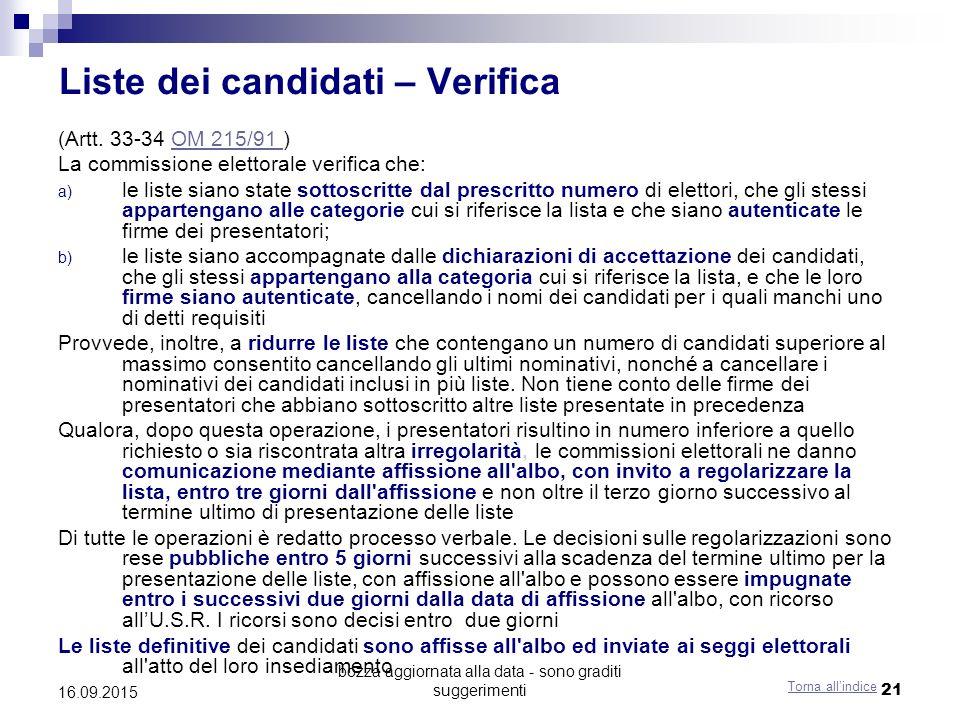 bozza aggiornata alla data - sono graditi suggerimenti 21 Liste dei candidati – Verifica (Artt. 33-34 OM 215/91 )OM 215/91 La commissione elettorale v