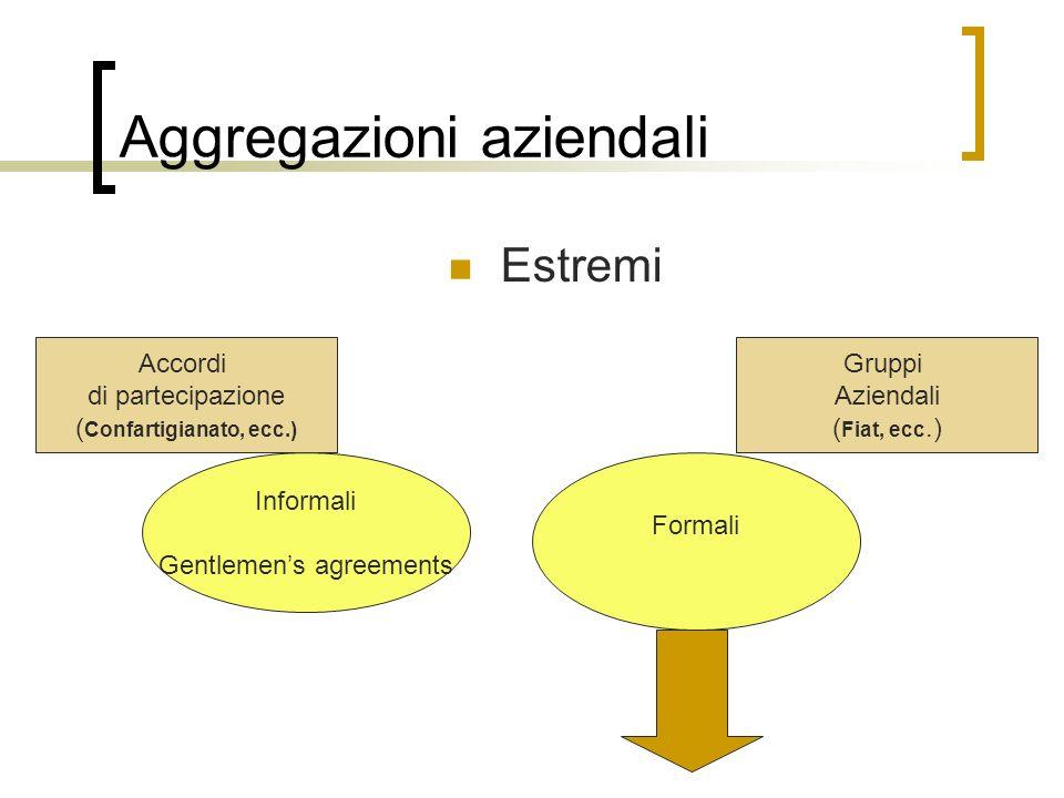 Aggregazioni aziendali Estremi Accordi di partecipazione ( Confartigianato, ecc.) Gruppi Aziendali ( Fiat, ecc.) Informali Gentlemen's agreements Formali