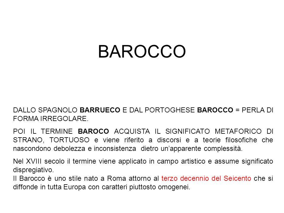 BAROCCO DALLO SPAGNOLO BARRUECO E DAL PORTOGHESE BAROCCO = PERLA DI FORMA IRREGOLARE. POI IL TERMINE BAROCO ACQUISTA IL SIGNIFICATO METAFORICO DI STRA
