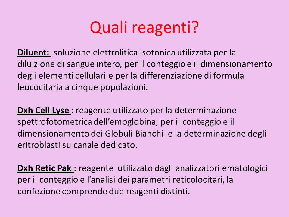 Quali reagenti? Diluent: soluzione elettrolitica isotonica utilizzata per la diluizione di sangue intero, per il conteggio e il dimensionamento degli