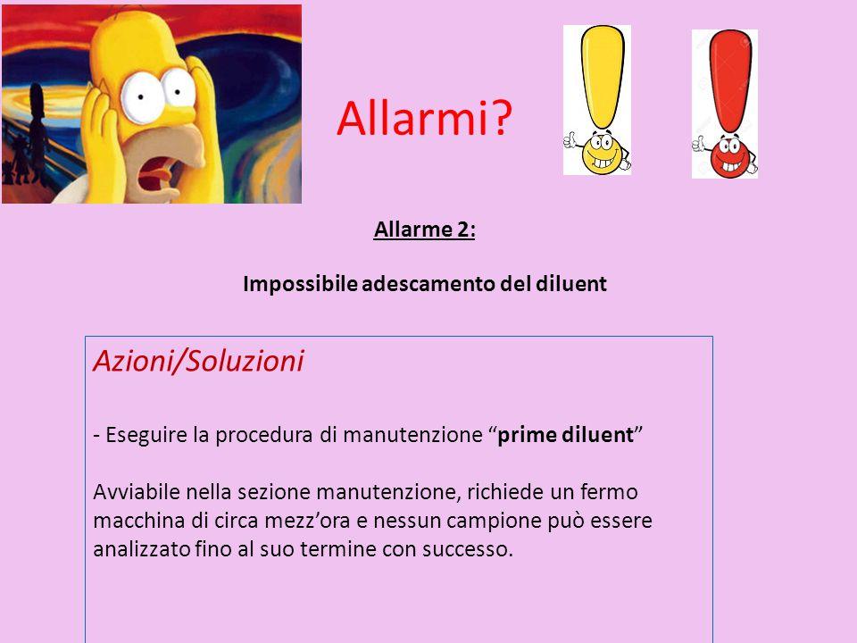"""Allarme 2: Impossibile adescamento del diluent Azioni/Soluzioni - Eseguire la procedura di manutenzione """"prime diluent"""" Avviabile nella sezione manute"""